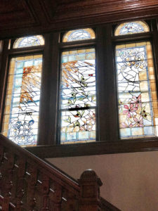 Stunning Stained Glass Panels of Castle La Crosse B&B along the Grand Staircase. In case you were wondering, no stained glass in the attic!